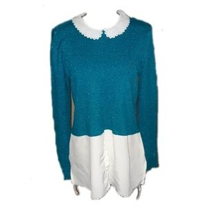 Elle layered look teal turquoise blouse